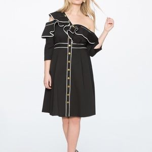 Eloquii Asymmetric One Shoulder Ruffle Dress Sz 14